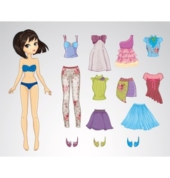 Paper Brunette Cool Haircut Doll vector