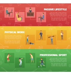 Physical Activity Banners Set vector