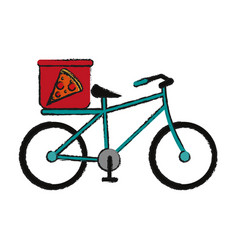 Pizza bycicle draw vector