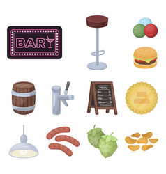 Pub interior and equipment cartoon icons in set vector