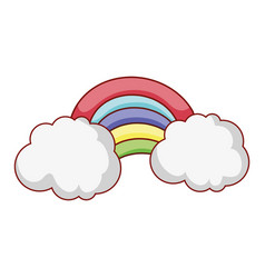 rainbow clouds weather fantasy magic isolated icon vector image