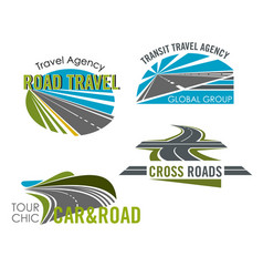 road trip and car tour icon set for travel design vector image