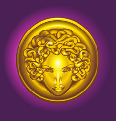 Round golden shield with the head of medusa the vector