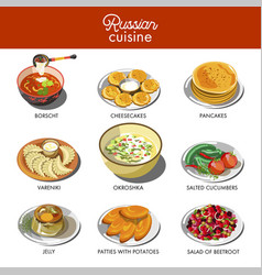 Russian cuisine traditional food dishes vector