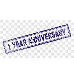 Scratched 1 year anniversary rectangle stamp vector