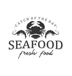 Seafood logo design restaurant fresh crab vector