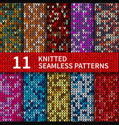 Seamless patterns with knitted sweater texture vector