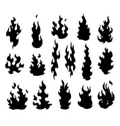Set fire flames cartoon collection abstract vector