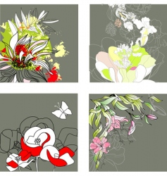 set3 with floral background vector image