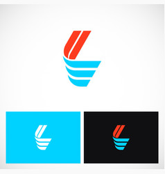 Shape color letter l logo vector