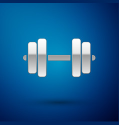 silver dumbbell icon isolated on blue background vector image