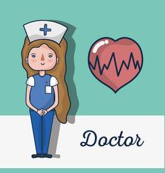 Specialist nurse with heartbeat signal vector