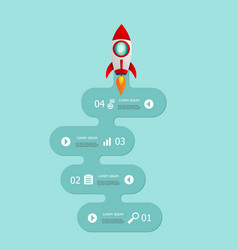 startup infographics 4 steps with rocket launch vector image