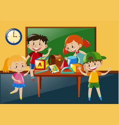 students learning in classroom vector image