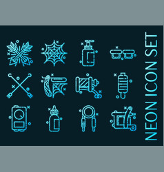 tattoo set icons blue glowing neon style vector image
