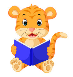Tiger reading book vector