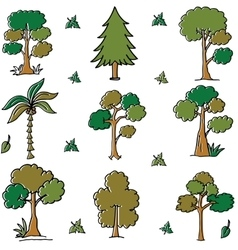 Tree different art doodles vector