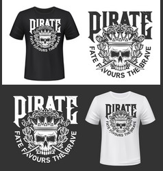 tshirt print with skull in crown isolated mockup vector image