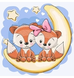Two Cute Foxes vector image