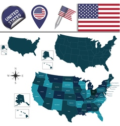 United States map with named divisions vector image