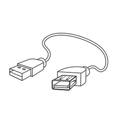 Usb cable icon in outline style isolated on white vector