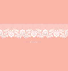 vintage coral floral seamless lace trim banner vector image