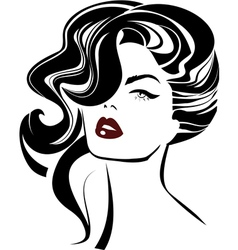 Vintage woman face Fashion and Hair icon vector