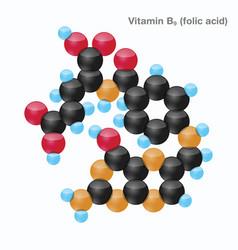 Vitamin b9 folic acid sphere vector