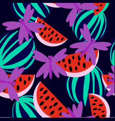 Watermelon with dragonfly vector