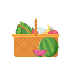 wicker picnic vegetable basket vector image