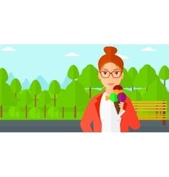 Woman holding icecream vector image