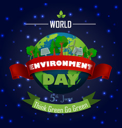 World environment day 5th june with red and green vector