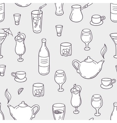 Seamless pattern with stylized doodle drinks in vector image