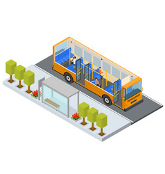 bus stop station autobus with people and seats vector image vector image
