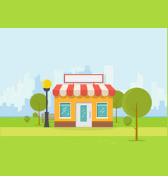 flat store and city vector image vector image