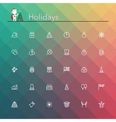 Holidays Line Icons vector image