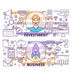 modern thin line investment and business vector image