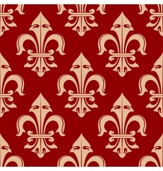 Beige and red french fleur-de-lis seamless pattern vector image vector image