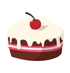 Chocolate cake with cherry cartoon icon vector image vector image