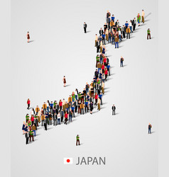 large group of people in japan map form vector image vector image