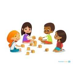 Laughing and smiling kids sit on floor in circle vector image vector image