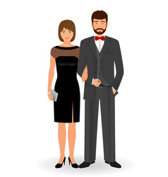 male and female couple in elegant clothes for vector image