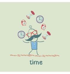man juggles clocks vector image