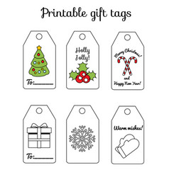 printable christmas and new year gift tags winter vector image
