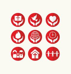 set of christian logos and biblical symbols vector image