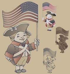 smiley character in American Independence War vector image