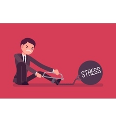 Businessman chained with a metall weight stress vector