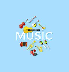 Digital blue music instruments vector