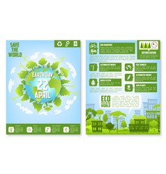 earth day brochure template with eco green city vector image