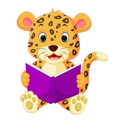 leopard reading book vector image